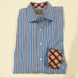 Thomas Dean Long Sleeve Shirt with Contrast Cuffs
